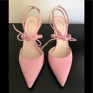 NWT SJP Pink Suede Lace Up Pumps